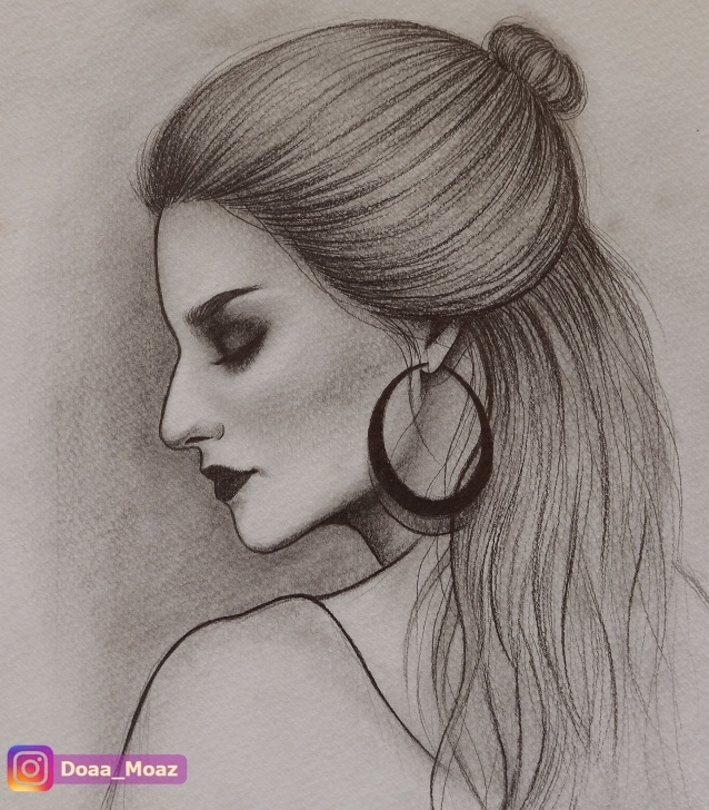 Wonderful Side Portrait Drawing Free Portrait Sketch With Pencil ♥ Side View Female Drawing, Click To Picture