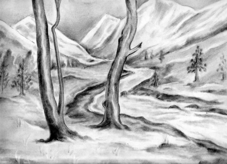 Wonderful Simple Pencil Drawings Of Nature Courses Pencil Sketches Of Nature At Paintingvalley | Explore Collection Photo