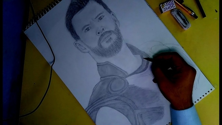 Wonderful Thor Drawing In Pencil Techniques Thor: Ragnarok Pencil Sketch   Khatriarts- Art, Drawing And Pencil Sketch Image